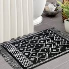 iOhouze Boho Bathroom Rug with Tassel, 2'x3', 100% Woven Black Bohemian Rug Fully Reversible, Cotton Machine Washable Boho Outdoor Rug for Kitchen Bedroom Living Room Laundry Entry Doorway