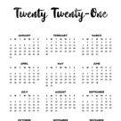 24 Free Printable One Page Calendars for 2021 - Lovely Planner