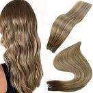 Full Shine Sew In Hair Weft Bundles 100 Remy Human Hair Balayage Highlights 4/27/4   14\ 100g / 4/27/4