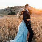 Split Sky Blue Rustic Wedding Dresses Beach Wedding Gown with Court Train WD289