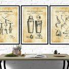 Bar Patent Collection of 3 Patent Prints - Bar Decor Art, Kitchen Decor, Restaurant Decor, Patent Prints, Cocktails Decor, Shaker Patent - 10X15 / Chalkboard