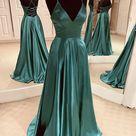 Green Satin Long Prom Dress Evening Dress M1054