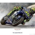 Valentino Rossi    Rides On    Ltd edition giclee fine art print 146 copies. - 30 x 42cm