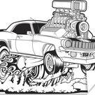 Dit is een bijzondere illustratie van een muscle auto met brandende wielen De achtergrond is wit en de afbeelding is zwart-wit 80x60 cm