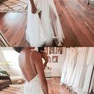 Spaghetti Strap V Neck Open Back Side Split Long Tulle Wedding Dresses Bride Gowns , Y0573 - US 4 / Burgundy