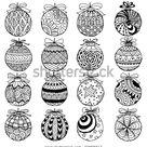 Стоковая векторная графика «Hand Drawn Christmas Balls Zentangle Style» (без лицензионных платежей), 326695517