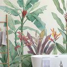 "Tapeten-Wandbild ""Vintage – Tropisch – Minimalistisch – Grün"" - Murals Wallpaper"
