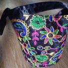 Black Evening Bag Bucket Bag Floral Evening Bag Indian | Etsy