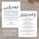 Wedding Itinerary Template / Navy Wedding Welcome Note / Destination Wedding Welcome Bag Note