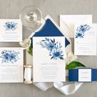 Sapphire blue, Floral wedding invitation set, Winter flower wedding invitations, Custom floral wedding invitations Sample invite set