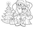 Ausmalbild Nikolaus und Christbaum zum Ausdrucken