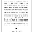 Kodaline 'The One' Song Lyric Print - Song Lyric Print - Wedding Song, Engagement Gift - can be personalised. Wedding Gift Idea