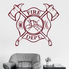 Vinyl Wall Decal Fire Department Emblem Shield Firefighter Stickers Unique Gift (ig3240)XL 45 in X 56 in / Flame Red
