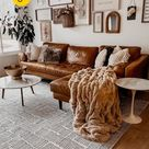 Cognac Tan Leather Sofas Ideas for a Mid-Century Modern Living Room