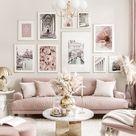 Elegante roze fotowand zomer posters bloemen prints gouden fotolijsten