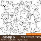 Friendly Fox - Digital stamps - Fox stamps - Line art, Digital Download