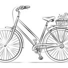 Bicycle with flower basket coloring page   Free Printable Coloring Pages