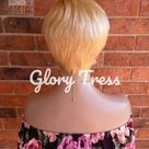 ON SALE // Short Razor Cut Full Wig, Pixie Cut Hairstyle, 100% Remy Human Hair Wig, Golden Platinum Blonde // BLOSSOM