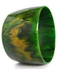 Bakelite Cuff Bracelet Marbled Green and Yellow
