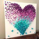Lavendel und Türkis Ombre Schmetterling Herz Mix Schmetterlinge Leinwand Natur Fantasy Zimmer Dekor Wand Dekor Kinderzimmer Zimmer Dekor handgefertigt