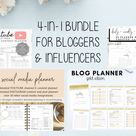 Bundle for Bloggers and Influencers  Blog Planner Youtube   Etsy