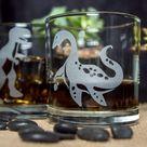 Plesiosaur Dinosaur Etched Whiskey Glass