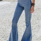 Women's Blue High Waist Bell Bottom Jeans   Blue / M