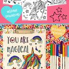 Unicorn Coloring Pages - Set of 3 - Instant Download