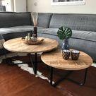 Industriële salontafel set Lara mangohout metaal rond