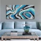Blue Sea Scenery Texture Oil Painting Abstract Art Painting On Canvas Abstract Art Pictures Canvas Wall Art Paintings Living Room,Dinning Room Home De
