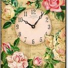 Antique Style Pink and Yellow Roses Clock