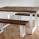Rustic Dining Table and Bench Set with Square Metal Frame in White and Rustic Wood Top