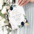 Navy Blush Rose Gold Geometric Editable Bridal Shower Invitation, Pink Floral Shower Invite DIY Template, Printable, Instant Download, 529-A