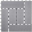11x carreau WPC Rhone, carrelage de sol, balcon / terrasse, à 30x30cm = 1qm ~ gris décalé