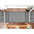 Dakota Fields Boho Bathroom Rug w/ Tassel,100% Woven Black Bohemian Rug Fully Reversible in Black/White, Size 24.0 W x 0.2 D in   Wayfair