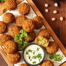 Gesunde Ofen Falafel mit Kräuterquark - Fitness Rezept zum Abnehmen