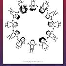 Multicultural Children Around the Globe Coloring Page • FREE Printable eBook
