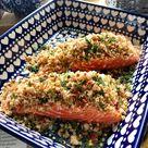 Sea trout with chilli garlic sourdough crumbs