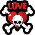 4in X 4in Love Skull and Crossbones Sticker Vinyl Vehicle Bumper Decal