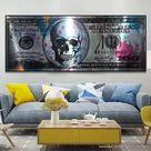 Wohnzimmer  | 100 Dollar mit Totenkopf Wandbild Wohnzimmer Dekoration | Haus und Garten Dekoration Günstig Online Kaufen