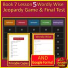 Book 7 Lesson 5 Bundle - 7th Grade Wordly Wise 3000 Game and Test - Google Ready