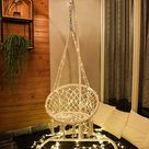 X-cosrack Hanging Chair with LED Lights for 2-16 Years Old Kids,Handmade Knitted Macrame Hammock Swing Chair for Bedroom,Indoor,Yard,Garden- 230 Pound Capacity (Stand and Chain not Included)