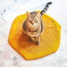 Pet Bedding. Cat Mat. Cat Blanket. Crochet Blanket. Yellow With Mustard. Crochet Cat Mat. Chunky Wool Pet Bed. Chunky Wool Bed