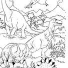 Coloriage Dinosaures en paysage