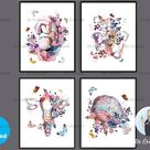 Pregnancy Anatomy Poster Baby Shower Decor Watercolor Fetus in Womb Floral Uterus Placenta Print Pel