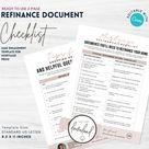 Editable Mortgage Refinance Document Checklist   Mortgage Broker Marketing   Mortgage Templates   Editable CANVA   Instant Download   REFI