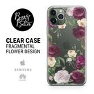 Flowers case Floral Pattern Gift for her Transparent Clear Ruber with hragmental design print for iPhone SAMSUNG & HUAWEI phone cover X25