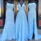 Blue Tulle Lace Customize Long Prom Dress, Evening Dress NN275 - As Photo / US 4