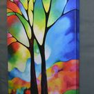 Original abstract tree painting textured abstract landscape   Etsy