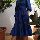 3/4 puffed sleeve tiered dress, poplin // ASTER //